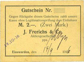 Banknotes Einswarden. Frerichswerft. Billet. 2 mark 14.9.1916
