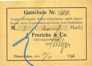 Banknotes Einswarden. Frerichswerft. Billet. 2 mark 16.11.1916. N° 174 !