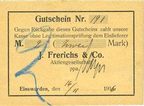 Banknotes Einswarden. Frerichswerft. Billet. 2 mark 16.11.1916. N° 191 !