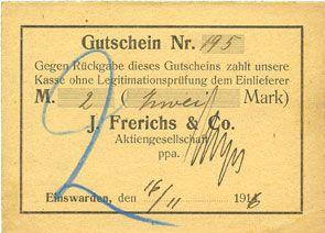 Banknotes Einswarden. Frerichswerft. Billet. 2 mark 16.11.1916. N° 195 !