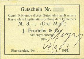 Banknotes Einswarden. Frerichswerft. Billet. 3 mark 14.9.1916