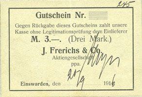 Banknotes Einswarden. Frerichswerft. Billet. 3 mark 20.9.1916