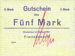 Banknotes Einswarden. Frerichswerft. Billet. 5 mark octobre 1918, signature en rouge