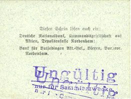 Banknotes Einswarden. Frerichswerft. Billet. 5 mark octobre 1918, signature en rouge
