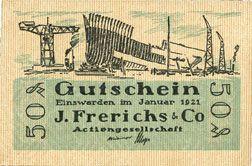 Banknotes Einswarden. Frerichswerft. Billet. 50 pf janvier 1921. R/: Dien Pär...