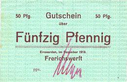 Banknotes Einswarden. Frerichswerft. Billet. 50 pfennig décembre 1918