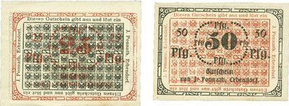 Banknotes Erbendorf. Ponnath J.. Billets. 25 pfennig, 50 pfennig