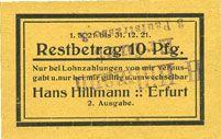 Banknotes Erfurt. Hans Hillmann. Billet. 10 pfennig 1.3.1921)