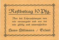 Banknotes Erfurt. Hans Hillmann. Billet. 10 pfennig (1920)