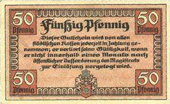 Banknotes Erfurt. Stadt. Billet. 50 pfennig