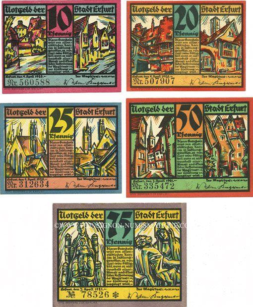 Banknotes Erfurt. Stadt. Billets. 10, 20, 25, 50, 75 pfennig (1922)