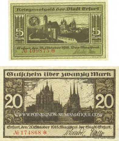 Banknotes Erfurt. Stadt. Billets. 5, 20 mark 20.10.1918