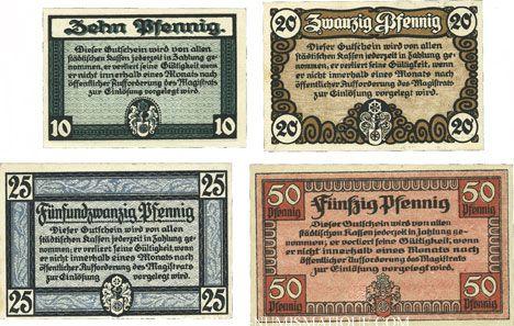 Banknotes Erfurt. Stadt. Billets. 50 pfennig 20.10.1918, 10, 20, 25 pfennig 9.4.1920