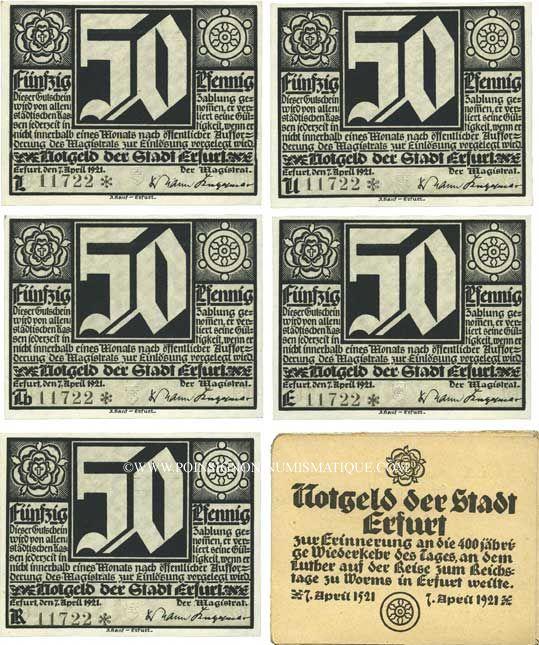 Banknotes Erfurt. Stadt. Billets. 50 pfennig (5 ex) 7.4.1921 avec son emballage d'origine