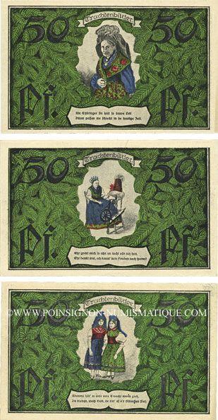 Banknotes Erfurt. Thüringer Trachten -und Heimatfest. Série de 3 billets. 50 pf 26-27.6.1921