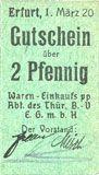 Banknotes Erfurt. Waren-Einkaufs Abt. des Thüringischen Beamtenvereins. Billet. 2 pf 1.3.1920