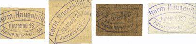 Banknotes Hamburg. Hauschildt Herm. Billets. 1 pf, 2 pf, 5 pf, 25 pf