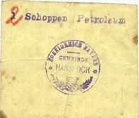 Banknotes Hassloch. Gemeinde. 2 (/1) chopes de pétrole (2 (/1) Schoppen Petroleum)