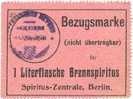 Banknotes Hassloch Gemeinde. Bon d'achat (Bezugsmarke) 1 litre d'alcool à brûler (1 Literflasche Brennspiritus