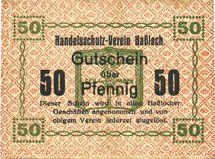 Banknotes Hassloch. Handelsshutz - Verein. Billet. 50 pf, texte avec erreur : jederzet eivgelöst