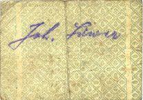 Banknotes Hassloch. Löwer Joh.. Brauerei und Weinkellerei. Billet. 20 pf, signature manuscrite au dos