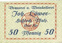 Banknotes Hassloch. Löwer Joh.. Brauerei und Weinkellerei. Billet. 50 pf, sans signature