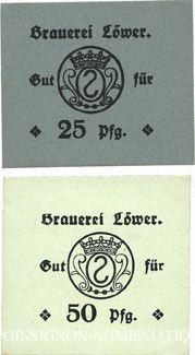 Banknotes Hassloch. Löwer Joh.. Brauerei und Weinkellerei. Billets. 25, 50 pf sans cachet ni signature au dos
