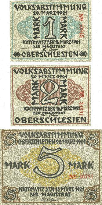 Banknotes Kattowitz (Katowice, Pologne). Stadt. Série de 3 billets. 1, 2, 5 mark 16.3.1921