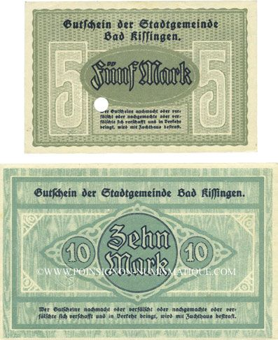Banknotes Kissingen, Bad. Stadt. Billets. 5, 10 mark 20.10.1918. Réimpression
