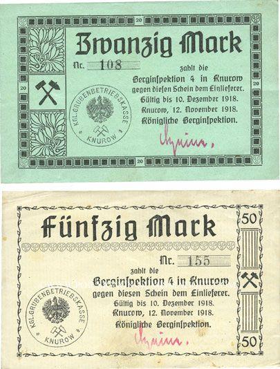 Banknotes Knurow (Pologne). Königliche Berginspektion. Billets. 20 mk, 50 mk 12.11.1918