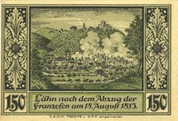 Banknotes Lähn (Wlen, Pologne). Städtische Sparkasse. Billet. 1,50 mark (1922), avec signature, sans date