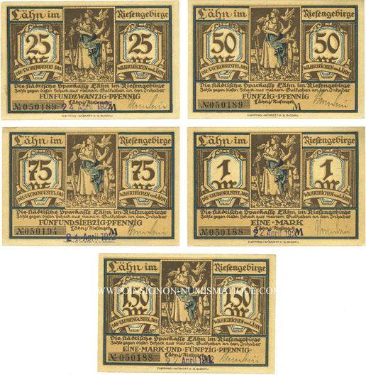 Banknotes Lähn (Wlen, Pologne). Städtische Sparkasse. Billets. 25 pf, 50 pf, 75 pf, 1 mk, 1,50 mk (1922)