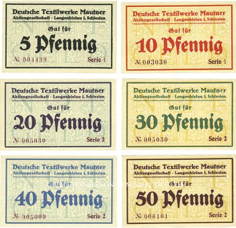 Banknotes Langenbielau (Bielawa, Pologne) Mautner, Deutsche Textilwerke A.G., billets 5, 10, 20, 30, 40, 50 pf