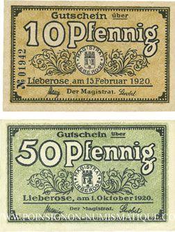 Banknotes Lieberose, Stadt, billets, 10 pf 15.2.1920, 50 pf 1.10.1920