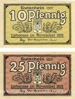 Banknotes Lieberose, Stadt, billets, 10 pf , 25 pf nov 1919