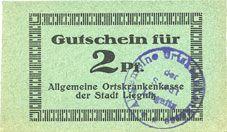 Banknotes Liegnitz (Legnica, Pologne), Allgemeine Ortskrankenkasse, billet, 2 pf, carton vert gris