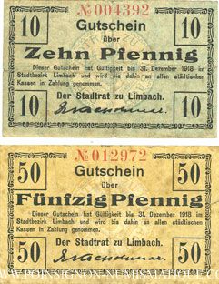 Banknotes Limbach, Stadt, billets, 10 pf, 50 pf n.d. - 31.12.1918