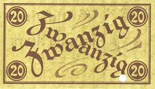 Banknotes Limbach, Stadt und Vollzugsrat, billet, 20 mark n. d. - 31.3.1920, annulation par perforation