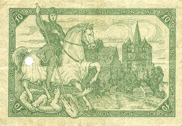 Banknotes Limburg a. d. Lahn, Stadt, billet, 10 mark 20.11.1918, annulation par perforation