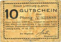 Banknotes Limburg a. d. Lahn, Stadt, billet, 10 pf 20.7.1917
