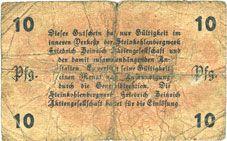 Banknotes Lintfort, Steinkohlenbergwerk Friedrich Heinrich, billet, 10 pf 1.5.1917 Lit O 30