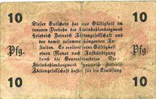 Banknotes Lintfort, Steinkohlenbergwerk Friedrich Heinrich, billet, 10 pf 1.5.1917, série II