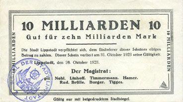 Banknotes Lippstadt, Stadt, billet, 10 milliards mark 26.10.1923