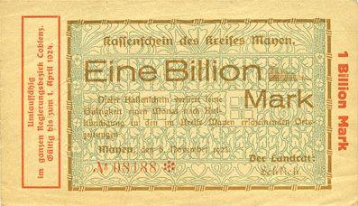 Banknotes Mayen, Kreis, Emission des séparatistes, billet, 1 billion mk avec timbre sec 6.11.1923 - 1.4.1924