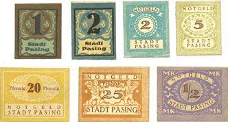 Banknotes Pasing. Stadt. Billets. 1 pf, 2 pf (2ex), 5 pf, 20 pf, 25 pf, 1/2 mark (1921)