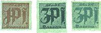 Banknotes Passau, Stadt, billets, 1 pf, 3 pf (2 variantes) n. d. Carton verdâtre