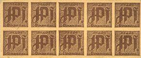 Banknotes Passau, Stadt, billets, 10 x 1 pf n. d. Carton jaunâtre