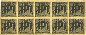 Banknotes Passau, Stadt, billets, 10 x 1 pf n. d. Carton jaune-gris