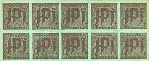 Banknotes Passau, Stadt, billets, 10 x 1 pf n. d. Carton verdâtre