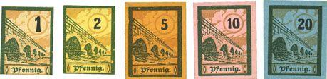 Banknotes Salzburghofen, Gemeinde, billets, 1 pf, 2 pf, 5 pf, 10 pf, 20 pf 1920
